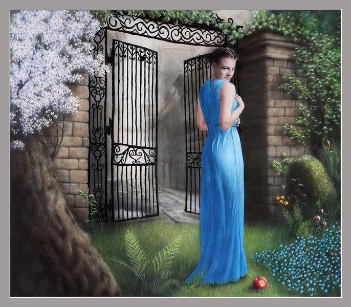 Aquarellmalerei, Paradies, Sünde, Frau, Gott, Mädchen
