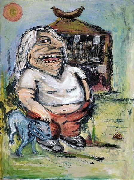 Mann, Wurst, Hund, Malerei