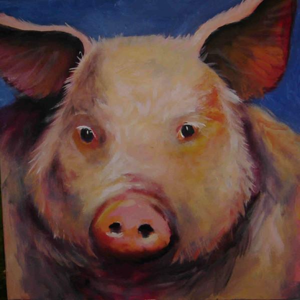 Vieh, Figural, Malerei, Schwein, Tiere