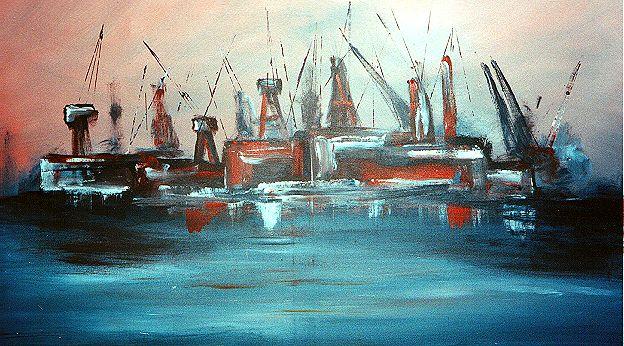 Werft, Hafen, Dock, Abstrakt, Elbe, Malerei