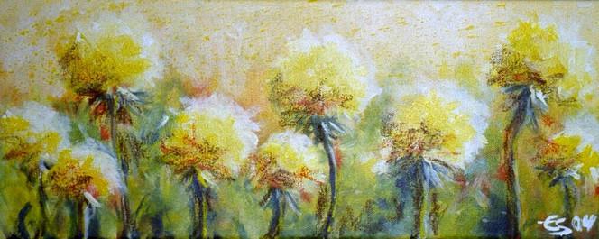 Landschaft, Malerei, Blumen, Pflanzen, Wiese