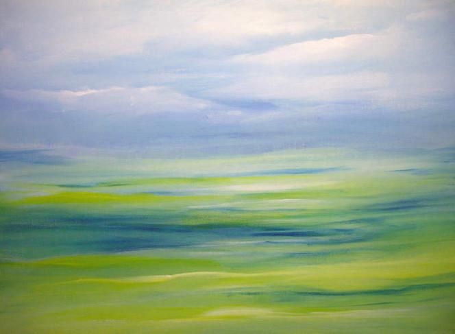 Landschaft, Malerei, Himmel, Grün, Blau, Wiese