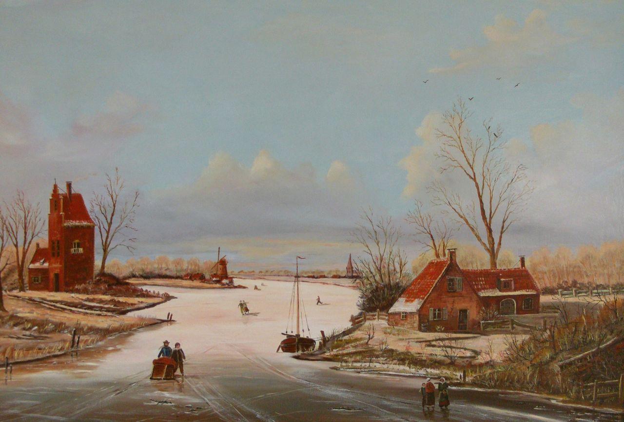 Holländische Winterstimmung 2: Haus, Stadt, Menschen ...