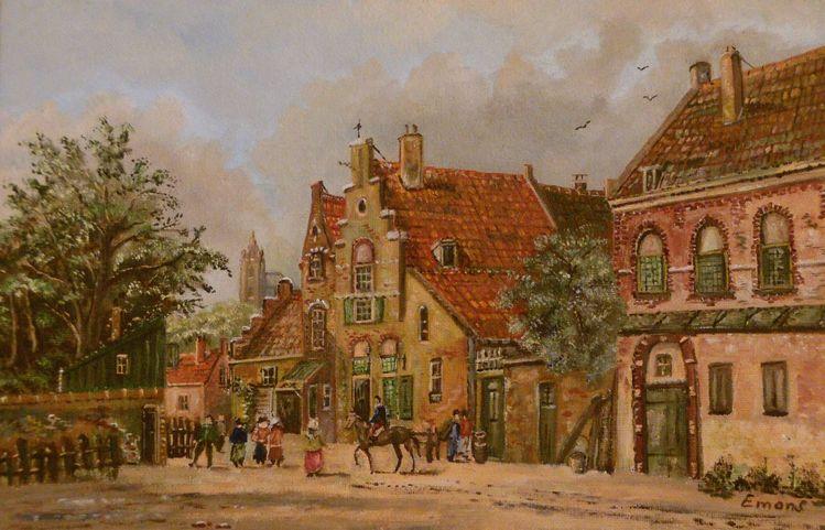 Zeitgenössischer maler, Realismus, Menschen, Person, Kirche, Stadt