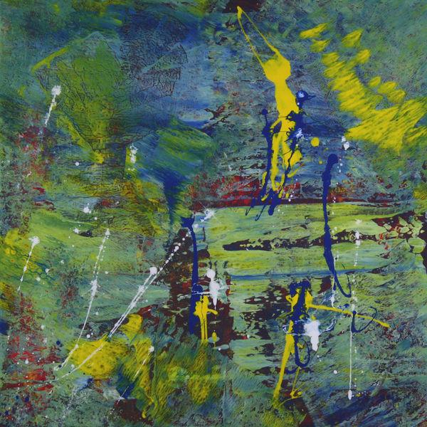 Abstrakt, Gelb, Blau, Fantasie, Malerei