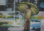 Regnerisch, Regen, Abgeschirmt, Acrylmalerei