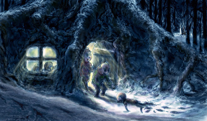 Nacht, Wald, Alien, Wurzel, Winter, Illustration