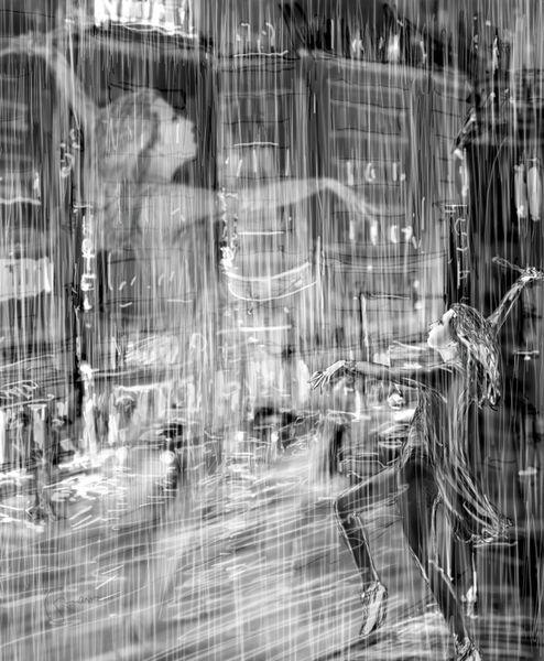 Regen, Gegenwartskunst, Tanz, Deutschland, Illustrationen,