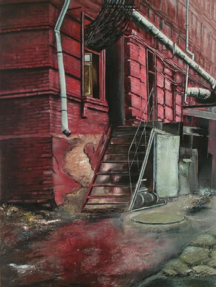 Fabrik, Landschaft, Alt, Verlassen, Gebäude, Malerei