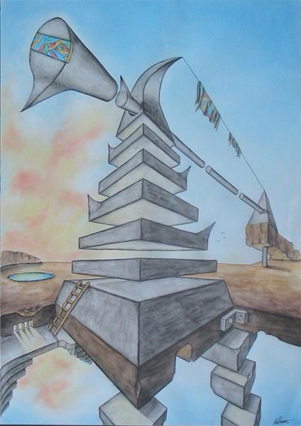 Zeichnungen, Surreal, Pyramide