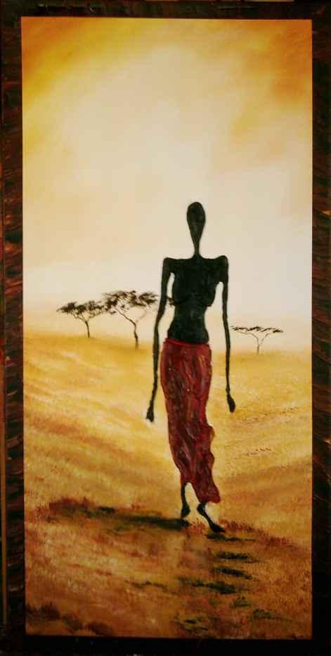 bild afrika figural steppe malerei von ralf lukas bei kunstnet. Black Bedroom Furniture Sets. Home Design Ideas