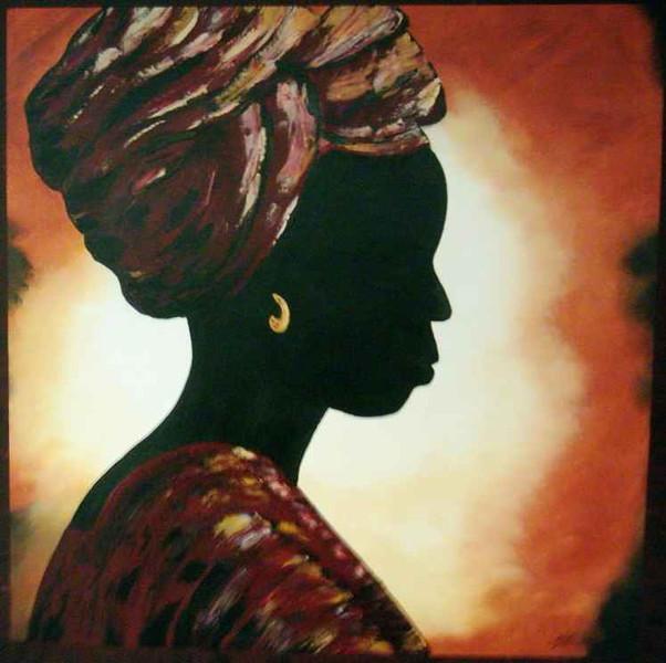 Siluette, Erdtöne, Figural, Malerei, Kopf, Afrika