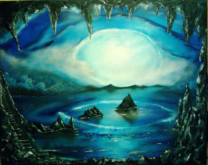 Wasser, Felsen, Fantasielandschaft, Weite, Malerei, Surreal