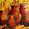 Krug, Orange, Braun, Malerei