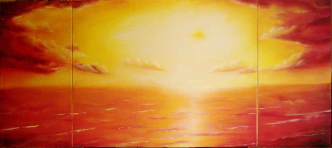 Meer, Malerei, Wolken, Orange, Wasser, Träumerei
