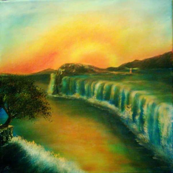 Sonnenuntergang, Wasserfall, Malerei, Surreal, Felsen, Leuchtturm