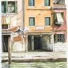 Architektur, Meer, Aquarellmalerei, Venedig