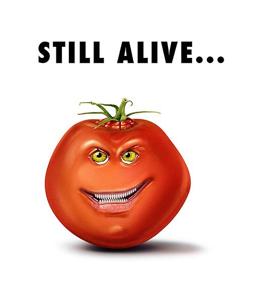 Genfood, Bissig, Tomate, Rot, Digital, Digitale kunst