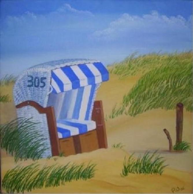 Strandkorb zeichnung  Strandkorb - 33 Bilder und Ideen auf KunstNet | Meer, Strand und Dünen