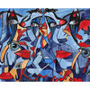 Aquarellmalerei, Blick, Schlüsselloch, Blau