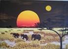 Malerei, Savanne, Elefant, Acrylmalerei