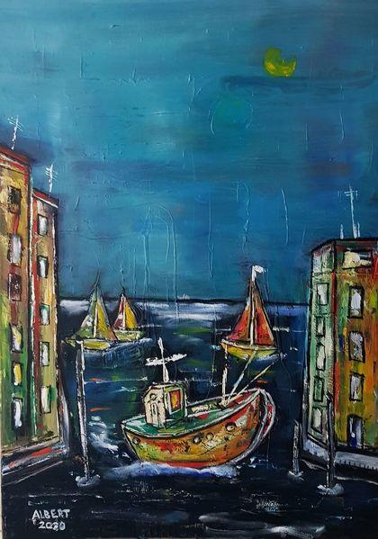 Schiff, Fischerboot, Heimkehr, Seefahrt, Malerei