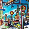 Stadt, Zukunft, Magnetschwebebahn, Malerei