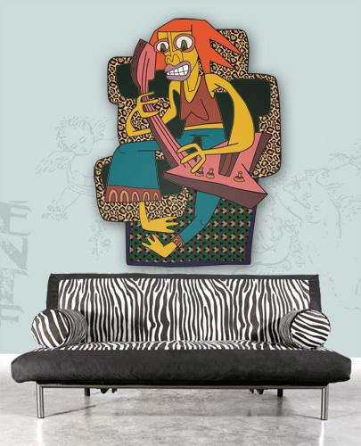 Acrylmalerei, Sauer, Figural, Holz, Malerei, Wand
