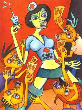 Surreal, Malerei, Comic, Acrylmalerei, Cartoon, Illustration