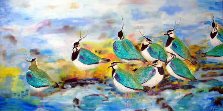 Wasser, Ölmalerei, Vogel, Kiebitze, Malerei