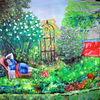 Menschen, Ölmalerei, Garten, Pflanzen