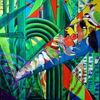 Abstrakt, Ölmalerei, Vogel, Wald