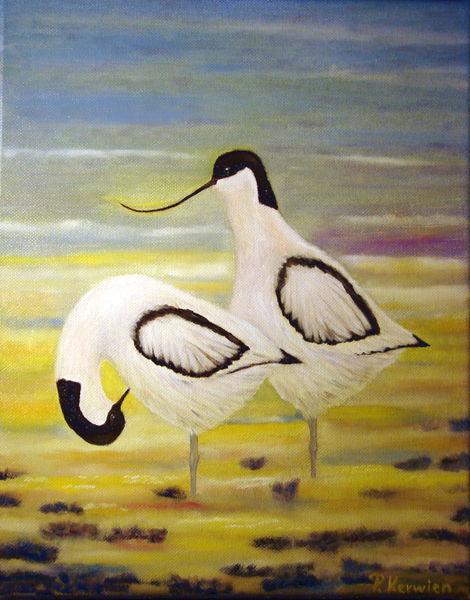 Säbelschnäbler, Ölmalerei, Tiere, Watt, Vogel, Meer