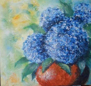 blaue hortensien bild kunst von ulrike sall s sohns bei kunstnet. Black Bedroom Furniture Sets. Home Design Ideas