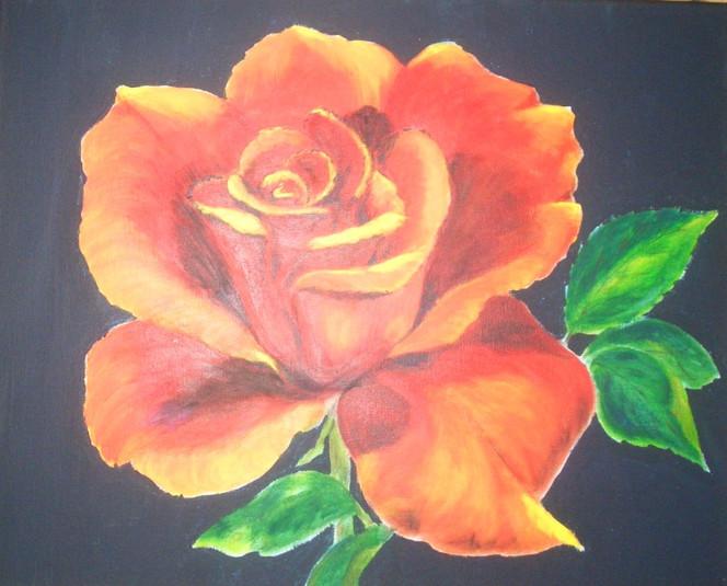 Stillleben, Malerei, Blumen, Rot