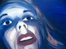 Selbstportrait, Frau, Malerei, Blau