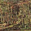Düster, Wald, Blätter, Malerei