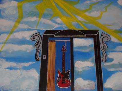 Pater, Surreal, Wolken, Aufzug, Malerei, Gitarre
