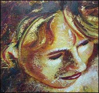 Mischtechnik, Malerei, Holz, Portrait, Enkaustik, Chinapapier
