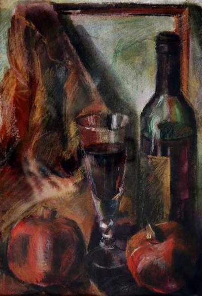 Malerei, Stillleben, Wein