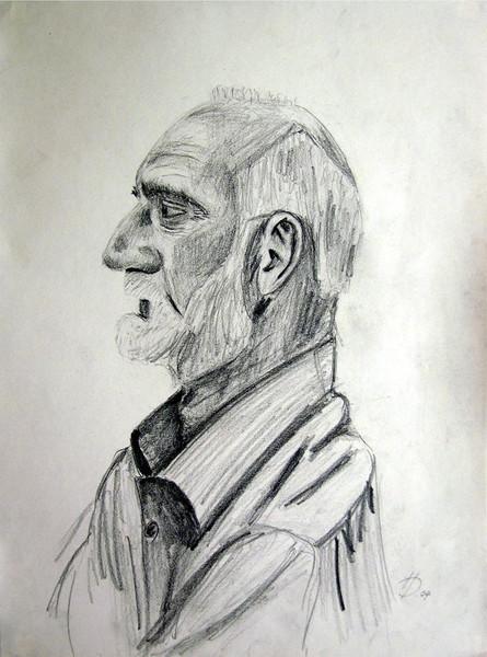 Profil, Portrait, Alter mann, Bart, Zeichnung, Zeichnungen
