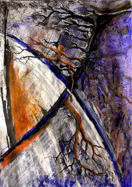 Mystik, Wurzel, Baum, Kreuz, Abstrakt, Malerei