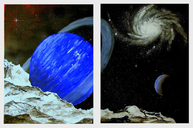Spiralgalaxie, Malerei, Schwerelos, Landschaft, Weltall