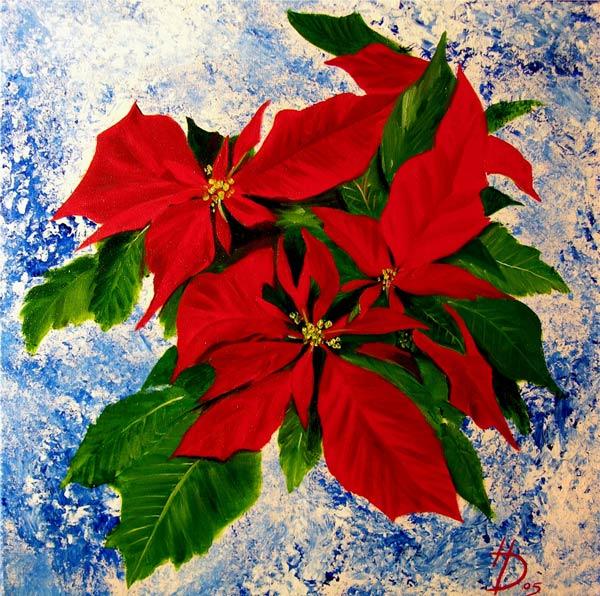 weihnachtsstern stillleben malerei weihnachten blumen von herbert diepold bei kunstnet. Black Bedroom Furniture Sets. Home Design Ideas
