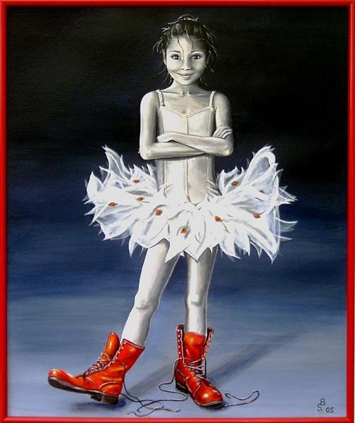Malerei, Figural, Rot, Ballerina, Stiefel, Menschen