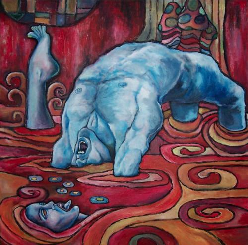 Meer, Malerei, Rot, Surreal, Blau, Schwimmen