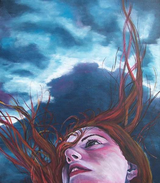 Frau, Harr, Malerei, Wind, Blau, Sturm