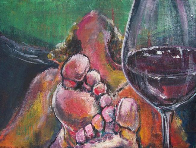 Frau, Füsse, Malerei, Wein, Menschen,