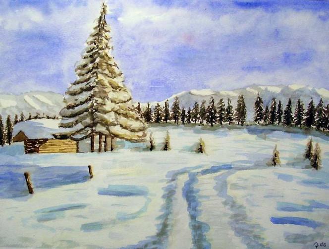 Winterlandschaft, Schnee, Malerei, Landschaft, Winter, Hütte