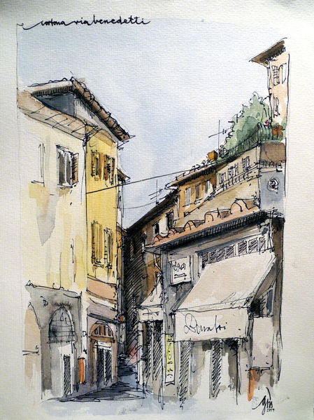 Cortona14, Aquarellmalerei, Berlin, Edit, Aquarell, Architektur